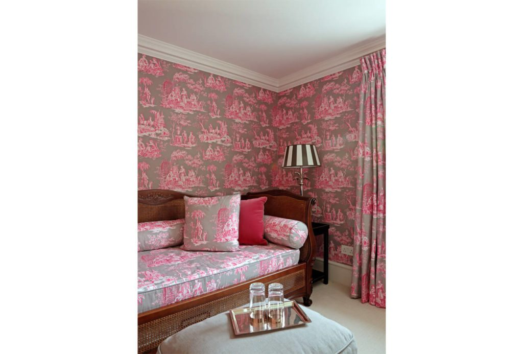 Pink Wallpapered Room with Sofa